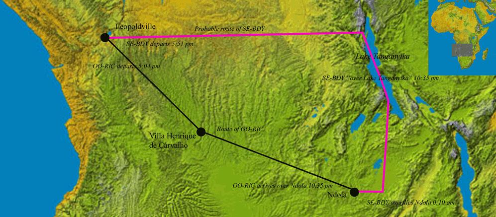 Dag Hammarskjold Flight Path